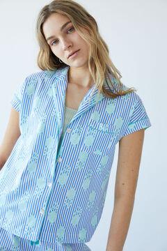 Womensecret Длинная хлопковая пижама в полоску голубой