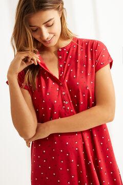 Womensecret Короткая ночная рубашка миди из органического хлопка с короткими рукавами и цветочным принтом красного цвета цветной