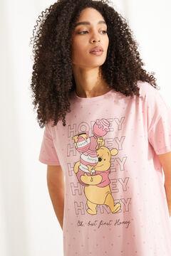 Womensecret Ночная рубашка миди с короткими рукавами из хлопка розового цвета розовый