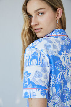 Womensecret Короткая хлопковая пижама с индийским принтом голубой