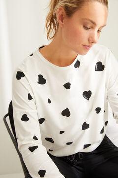 Womensecret Длинная хлопковая пижама с сердечками бежевый