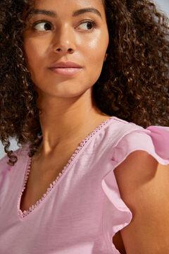 Womensecret Короткое розовое платье на бретелях с воланами розовый