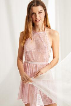 Womensecret Короткая кружевная ночная рубашка с вырезом халтер розового цвета розовый