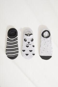 Womensecret Набор из 3 пар подследников серого цвета «Панда» цветной