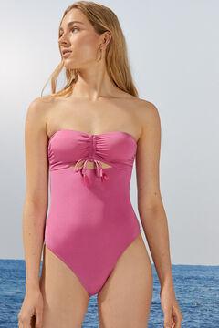 Womensecret Розовый купальник бандо с завязками розовый