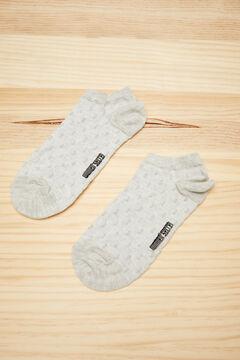 Womensecret Короткие хлопковые носки в горошек серого цвета серый