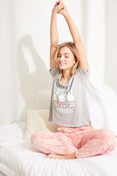 Womensecret Длинная хлопковая пижама с верхом с короткими рукавами «Миффи» серый