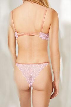Womensecret Розовые трусики-бразилиана с кружевом розовый