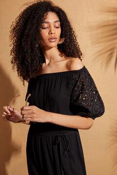 Womensecret Черное платье миди с воланами на рукавах черный