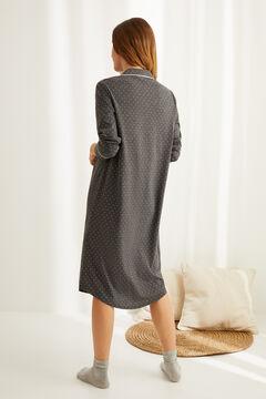 Womensecret Хлопковая ночная рубашка миди с длинными рукавами серый