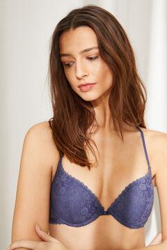 Womensecret Синий кружевной бюстгальтер пуш-ап GORGEOUS с тесемками на спине голубой