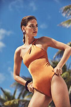 Womensecret Оранжевый моделирующий купальник асимметричного кроя с декоративным узлом красный