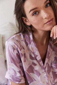 Womensecret Пижама в рубашечном стиле с брюками капри розовый