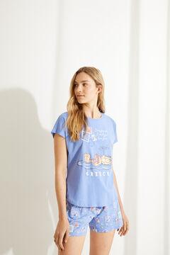 Womensecret Короткая пижама с верхом с короткими рукавами из 100 % хлопка синего цвета «Гарфилд» голубой
