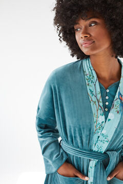 Womensecret Короткий бархатный халат Coodonné синего цвета зеленый