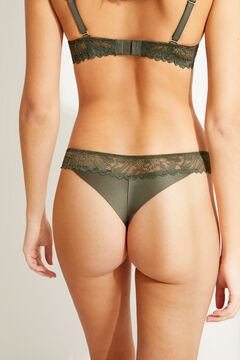Womensecret Зеленые трусики-бразилиана с кружевом бежевый