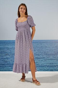 Womensecret Платье миди с цветочным принтом из экоматериалов голубой