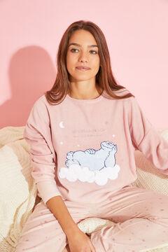 Womensecret Длинная розовая пижама из флиса «Коржик» розовый