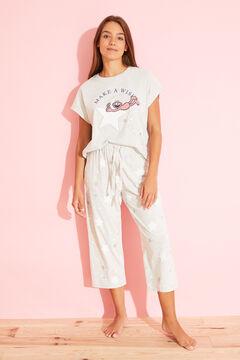 Womensecret Длинная хлопковая пижама серого цвета с принтом «Коко» серый