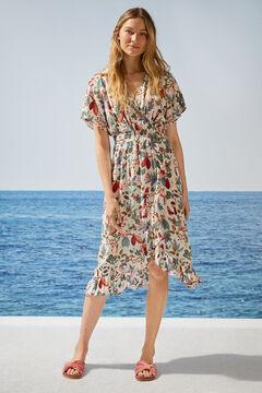 Womensecret Платье средней длины с запахом, тропическим принтом и оборками бежевый
