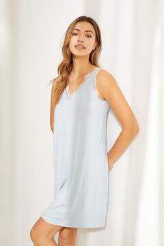 Womensecret Зеленая короткая ночная рубашка из невероятно мягкого трикотажа голубой