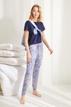 Womensecret Длинная хлопковая пижама с принтом принтом голубой