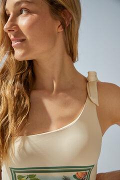 Womensecret Асимметричный купальник из переработанной ткани бежевый