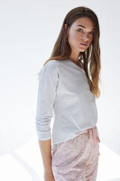 Womensecret Длинная пижама из органического хлопка розового цвета серый