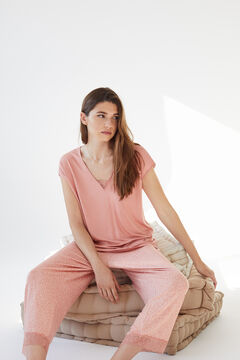 Womensecret Пижама с короткими рукавами из невероятно мягкого трикотажа розового цвета  розовый
