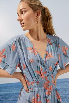 Womensecret Длинное платье с цветочным принтом и оборками из экоматериалов голубой
