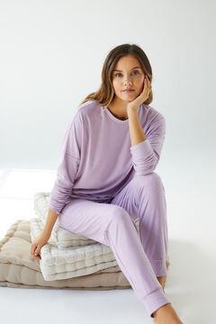 Womensecret Длинная пижама с полосатым принтом фиолетового цвета зеленый