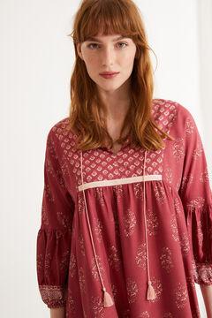 Womensecret Сорочка с принтом в стиле бохо красного цвета цветной