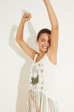 Womensecret Хлопковая короткая пижама с верхом на бретелях в разноцветную полоску «Миффи» бежевый