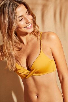 Womensecret Желтый топ бикини с узлом и бусинами желтый