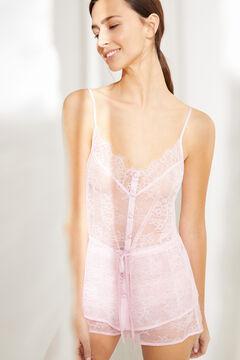 Womensecret Короткая пижама с топом на бретелях с кружевом розового цвета розовый