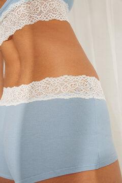 Womensecret Синие трусики-шортики из органического хлопка с кружевом голубой