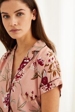 Womensecret Розовая пижама рубашечного кроя с брюками капри и цветочным принтом розовый