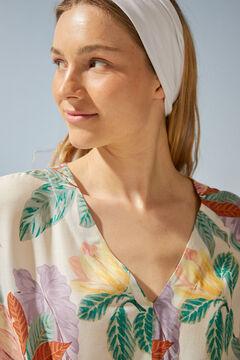 Womensecret Платье-туника с тропическим принтом бежевый