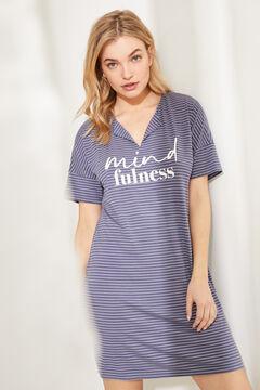 Womensecret Ночная рубашка миди из невероятно мягкого трикотажа в полоску серый