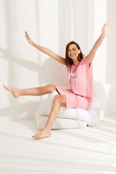 Womensecret Розовая ночная рубашка миди из хлопка в полоску «Снупи» розовый