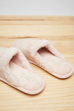 Womensecret Домашние тапочки без задника из велюра розового цвета розовый