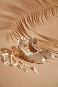 Womensecret Золотистая обувь из сетчатой ткани на танкетке  желтый