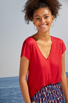 Womensecret Трикотажный топ с короткими рукавами красного цвета красный