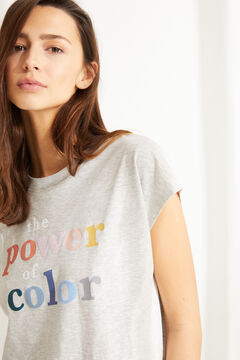Womensecret Серая футболка из хлопка с короткими рукавами серый