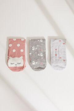 Womensecret Набор из 3 пар носков средней длины с принтом с котятами цветной