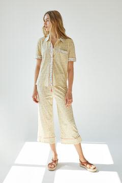 Womensecret Пижама рубашечного типа с брюками капри и принтом в виде листьев цветной