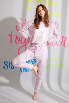 Womensecret Длинная пижама из органического хлопка сиреневого цвета с принтом розовый