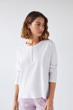 Womensecret Серая хлопковая футболка с длинными рукавами и круглой горловиной на пуговицах серый