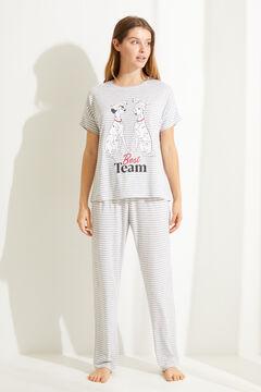 Womensecret Длинная хлопковая пижама с полосатым принтом «101 далматинец» серый