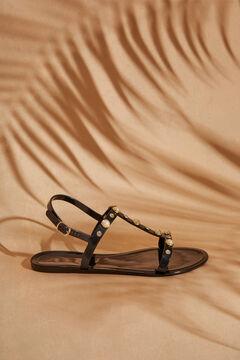 Womensecret Черные сандалии с ремешками и жемчугом черный
